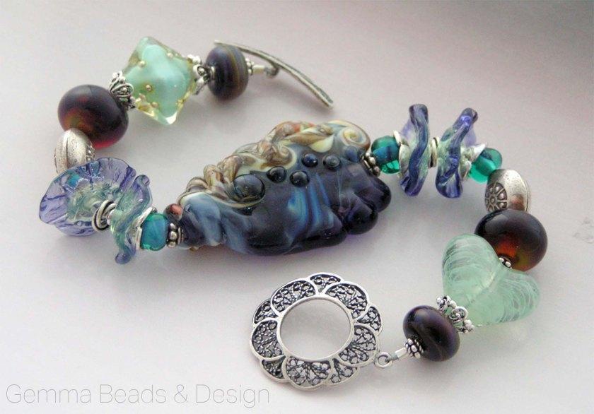 Serendipity - Artisan Lampwork and Silver Bracelet